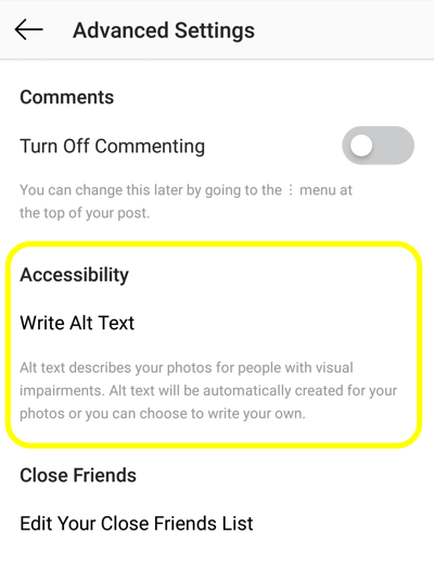 How to add alt text to Instagram posts, step 2, Instagram post accessibility option to set alt tag