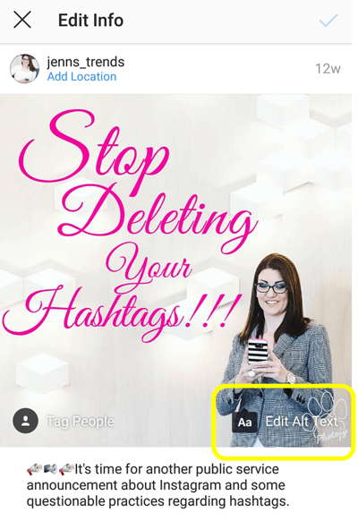 How to add alt text to Instagram posts, step 6, option to edit alt text for your published post