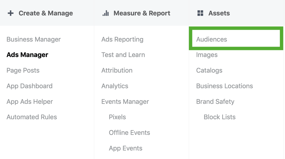 How to strategically grow your Instagram following, step 1, Ads Manager audience menu option