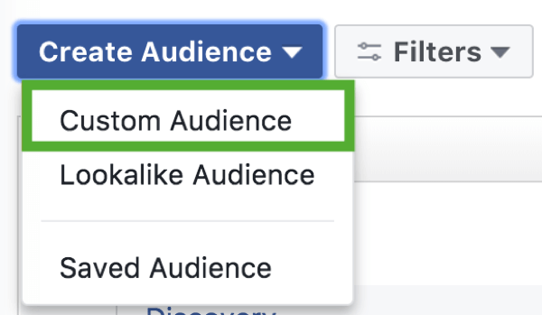 How to strategically grow your Instagram following, step 2, create custom audience menu option