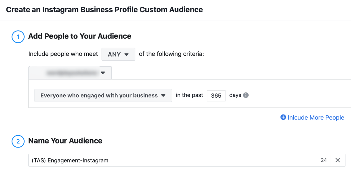 How to strategically grow your Instagram following, step 4, settings to select which Instagram profile and include visitors from the last year in your audience