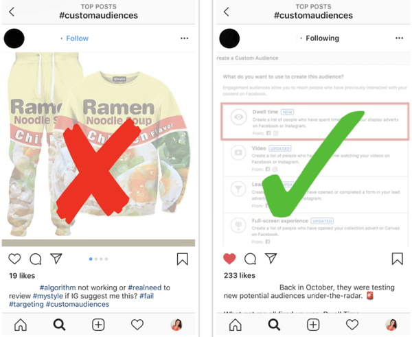 How to strategically grow your Instagram following, step 12, find relevant example posts, example of good and bad posts