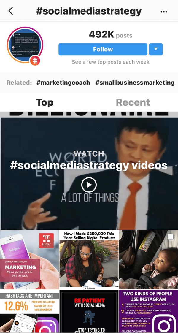"""How to strategically grow your Instagram following, step 11, find relevant example posts, sample search for """"#socialmediastrategy"""" videos"""