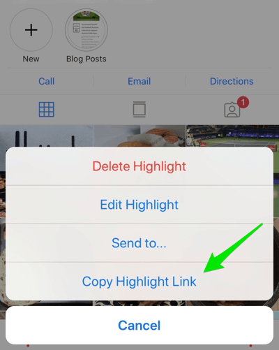 Create strong, engaging Instagram stories, option to copy the direct link to your highlights album