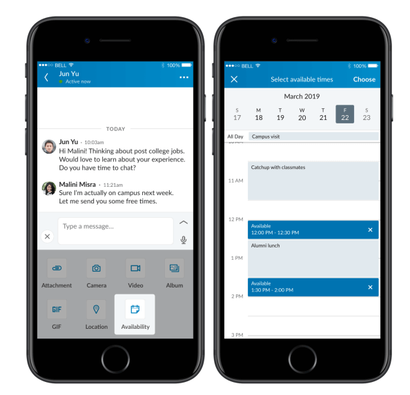 LinkedInrolled out the ability to share your availability directly within a chat in the LinkedIn app as well as suggest a location or share a current, one-time location with others in your chat.