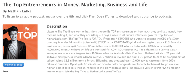 Nathan Latka's The Top Entrepreneurs Podcast in iTunes.