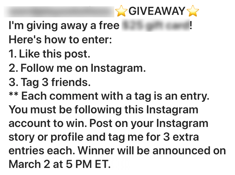 How to recruit paid social influencers, example of poorly done Instagram contest post