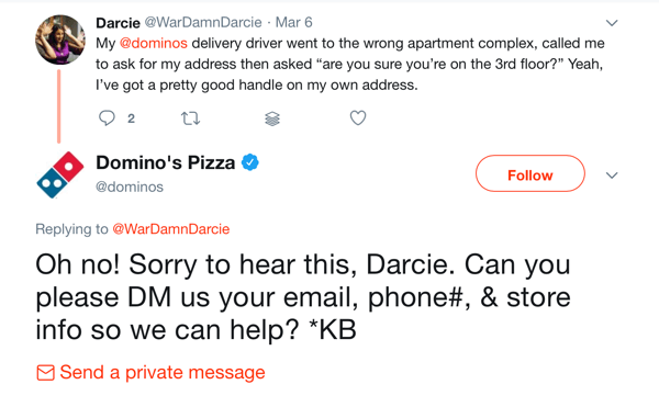 10 metrics to track when analyzing your social media marketing, example of conversation response by Dominos