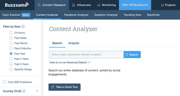 10 metrics to track when analyzing your social media marketing, Buzzsumo content analyzer