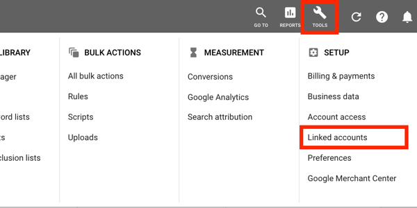 How to set up a YouTube ads campaign, step 1, set up YouTube advertising, Google AdWords tools menu, Linked accounts option