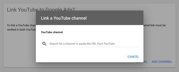How to set up a YouTube ads campaign, step 2, set up YouTube advertising, link a YouTube channel