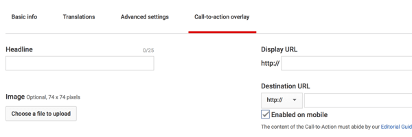 How to set up a YouTube ads campaign, step 41, option to set call-to-action overlay