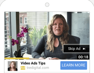 How to set up a YouTube ads campaign, step 6, choose a YouTube ad format, TrueView ads example