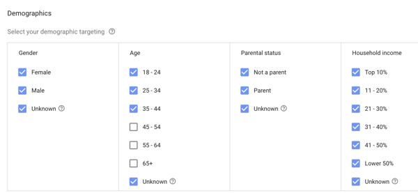 How to set up a YouTube ads campaign, step 18, define demographics targeting options