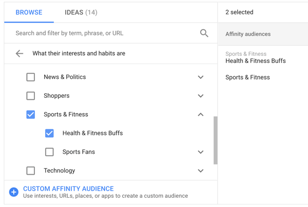 How to set up a YouTube ads campaign, step 20, set affinity targeting options