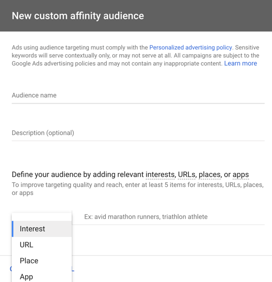 How to set up a YouTube ads campaign, step 21, create a custom affinity audience