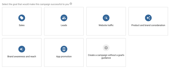 How to set up a YouTube ads campaign, step 4, choose a YouTube ad objective, campaign objective options