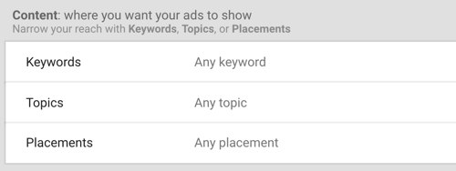 How to set up a YouTube ads campaign, step 30, set keywords, topics, and placements options