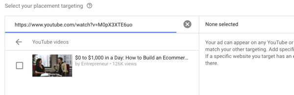 How to set up a YouTube ads campaign, step 35, option to select specific video placement on competitor site
