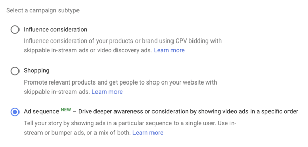 How to set up a YouTube ads campaign, step 39, option to set ad sequencing