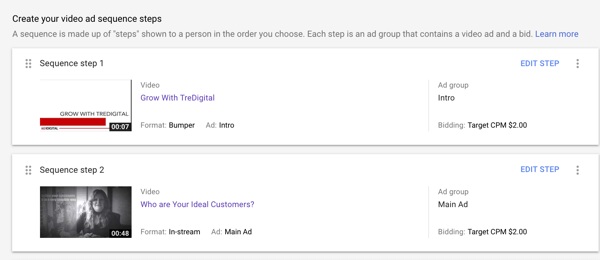How to set up a YouTube ads campaign, step 40, option to follow bumper ad with TrueView in-stream ad