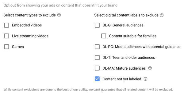 How to set up a YouTube ads campaign, step 15, set excluded types and label options