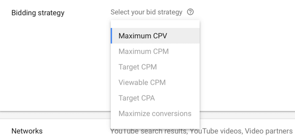How to set up a YouTube ads campaign, step 9, set bid strategy setting options