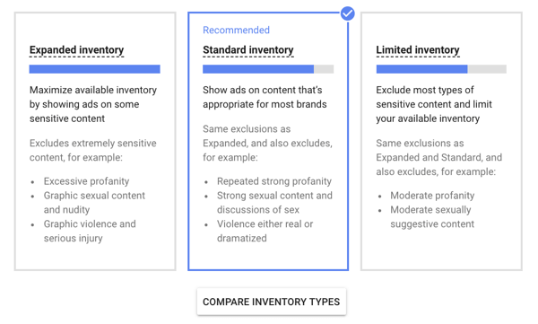 How to set up a YouTube ads campaign, step 13, set inventory type option