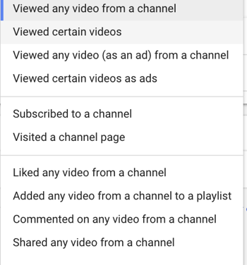 How to set up a YouTube ads campaign, step 27, set specific remarketing user action