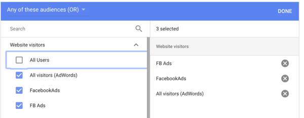 How to set up a YouTube ads campaign, step 29, set website visitor audience option
