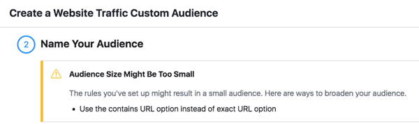 Make sure the audiences in your ad sets total more than 200 people.