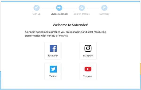 Measure marketing results, benchmark social channel performance vs. competitors, step 1, option to connect social accounts to Sotrender