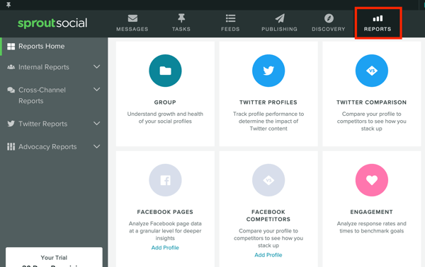 Measure marketing results, assess audience activity and engagement, step 7, Sprout Social reports tab options