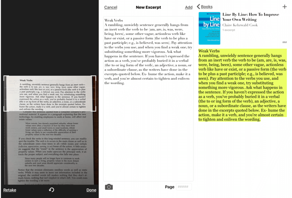 Excerpt - The Book Highlighter iOS app, how to take screenshot of passage from book
