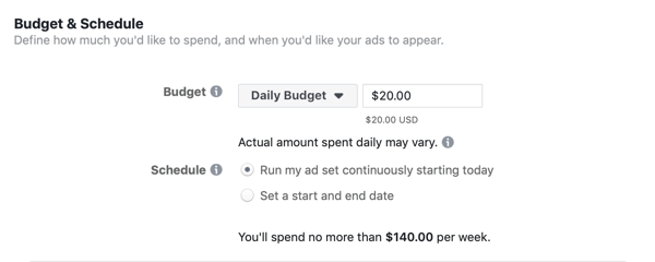 Facebook Ads Manager, Budget & Schedule section for ad set