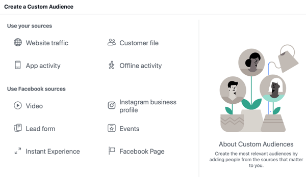 Facebook custom audience source options