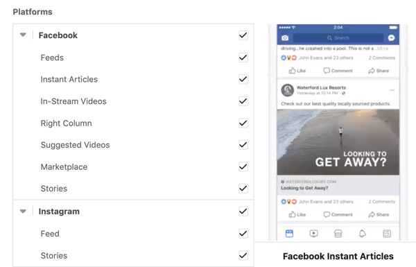 Facebook campaign placement options