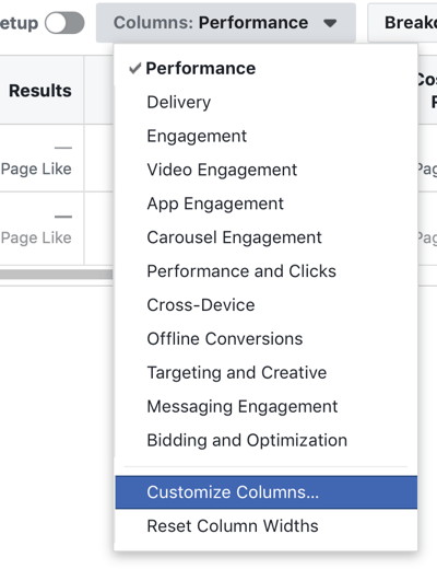 Facebook Ads Manager Customize Columns option