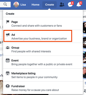 Create Facebook ads by clicking on Create from your Facebook Profile.