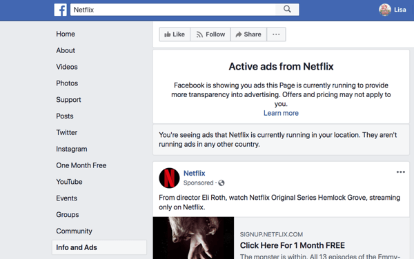The Facebook Info and Ads tab shows you the ads a Facebook page is running.