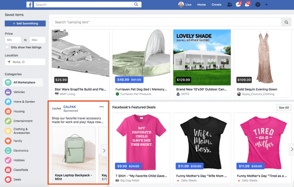 Pages can also run ads in Facebook Marketplace.