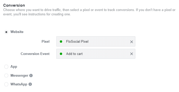 Use the Facebook Event Setup Tool, step 25, settings to identify your pixel and conversion event for your Facebook Ads campaign