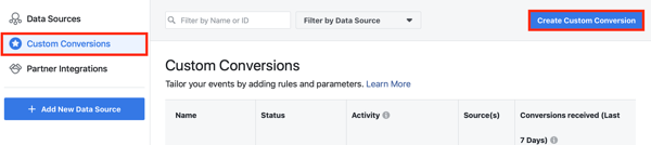 Use the Facebook Event Setup Tool, step 10, menu option to set up custom conversions for your Facebook pixel