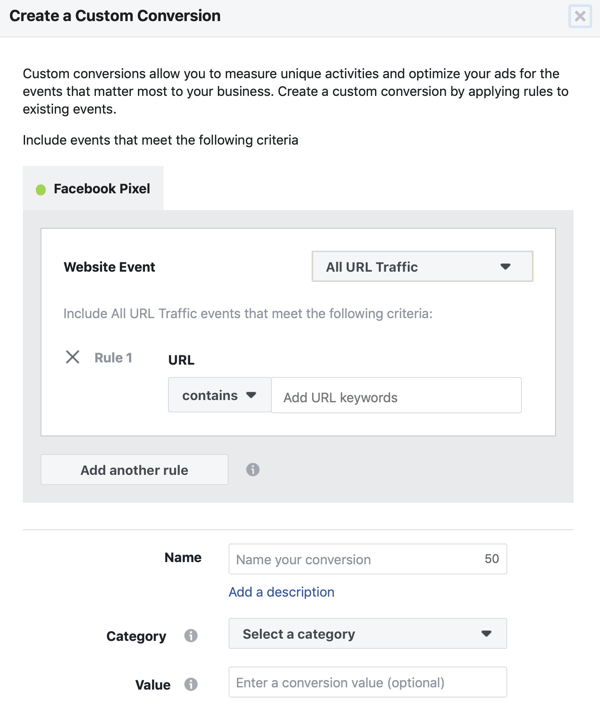 Use the Facebook Event Setup Tool, step 11, URL setting for when your custom conversion will fire