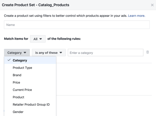 Use the Facebook Event Setup Tool, step 28, Facebook menu option to apply filters to which products are shown to customers