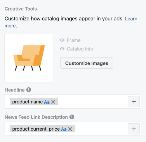Use the Facebook Event Setup Tool, step 30, menu options to customize how catalog images appear in Facebook ads