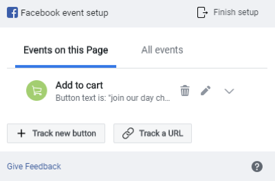Use the Facebook Event Setup Tool, step 8, preview your event tracking in the Facebook Event Setup window