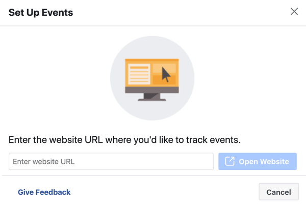 Use the Facebook Event Setup Tool, step 3, enter website URL to install pixel event