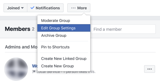 How to improve your Facebook group community, menu option to edit Facebook group settings