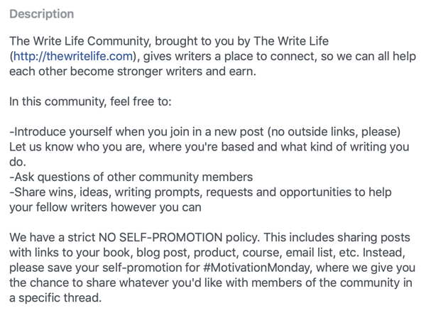 How to improve your Facebook group community, example of Facebook group description and rules by The Write Life Community